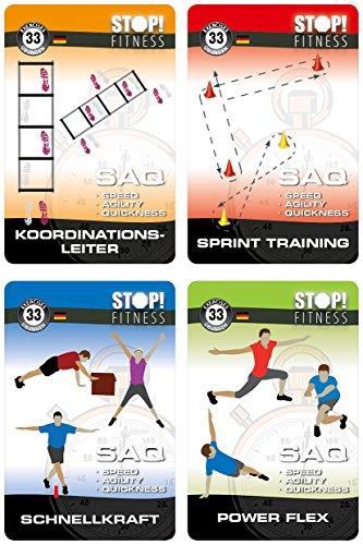 Stop! Fitness | SAQ Bundle - Set mit Vier Trainingskarten Sets, Übungskarten, deutsche Version, Kartengröße 66 x 100 mm mit Kunststoffbox