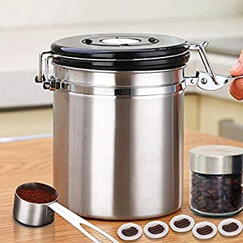 HOMICHEF 16 oz SILVER Stainless Steel Coffee Container Airtight with Scoop and 1-Way CO2 Valve - Medium Coffee Bean Storage Container Airtight - Vacuum Sealed Coffee Ground Storage Container Airtight