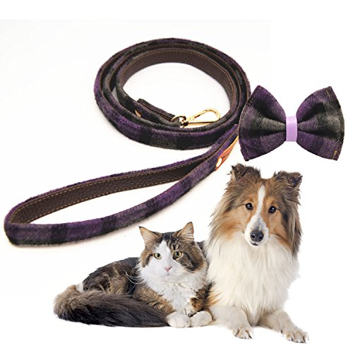 Legendog hond Leash modieuze Plaid patroon metalen haak huisdier Leash hond wandelen Leash met hond kraag, With Bowtie Collar S, Paars S