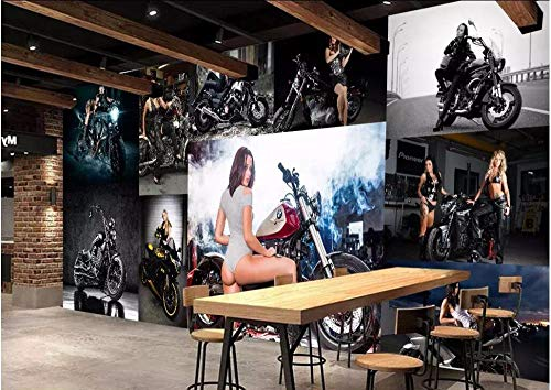 MIYCOLOR 3d fototapete custom mural europäischen luxus sexy schönheit motorrad wohnkultur hintergrund wohnzimmer tapete für wände 3 d, 350x245 cm (137.8 by 96.5 in)
