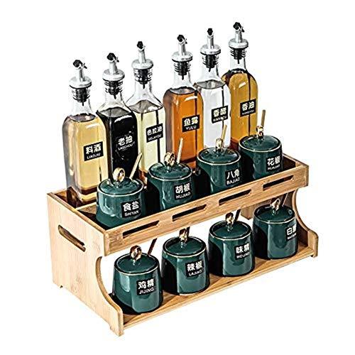 Kruiderij Kruiden jar set, kruiden Fles Olie en Azijn Fles Combinatie Double-Layer Ceramic kruiden Box Salt Shaker opslag Rack kruiden Bottle Set (Kleur: Groen) (Color : White)