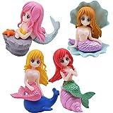 Sirena Cupcakes Decoración YUESEN 4pcs Unids Sirena Figuras en Miniatura Topper Modelo Sirena Pastel para niños,Mini Juguetes Baby, de Fiesta de Bodas cumpleaños Pastel Decoración Suministros