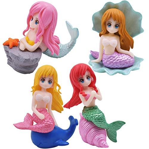 YUESEN Figurine di Sirena 4pcs Decorazione Sirena Mini Figurine Giocattoli per Feste Confezione per Torta a Tema Oceano Sirena Matrimonio Bambini Compleanno Baby Shower Mermaid Tema