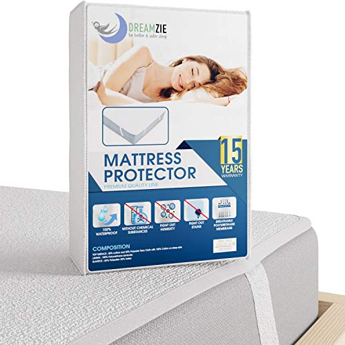 Dreamzie - Mattress Protector Waterproof King Size 150 x 200 cm with 4 Elastic Corners - Made in EU - OEKO-TEX Certified