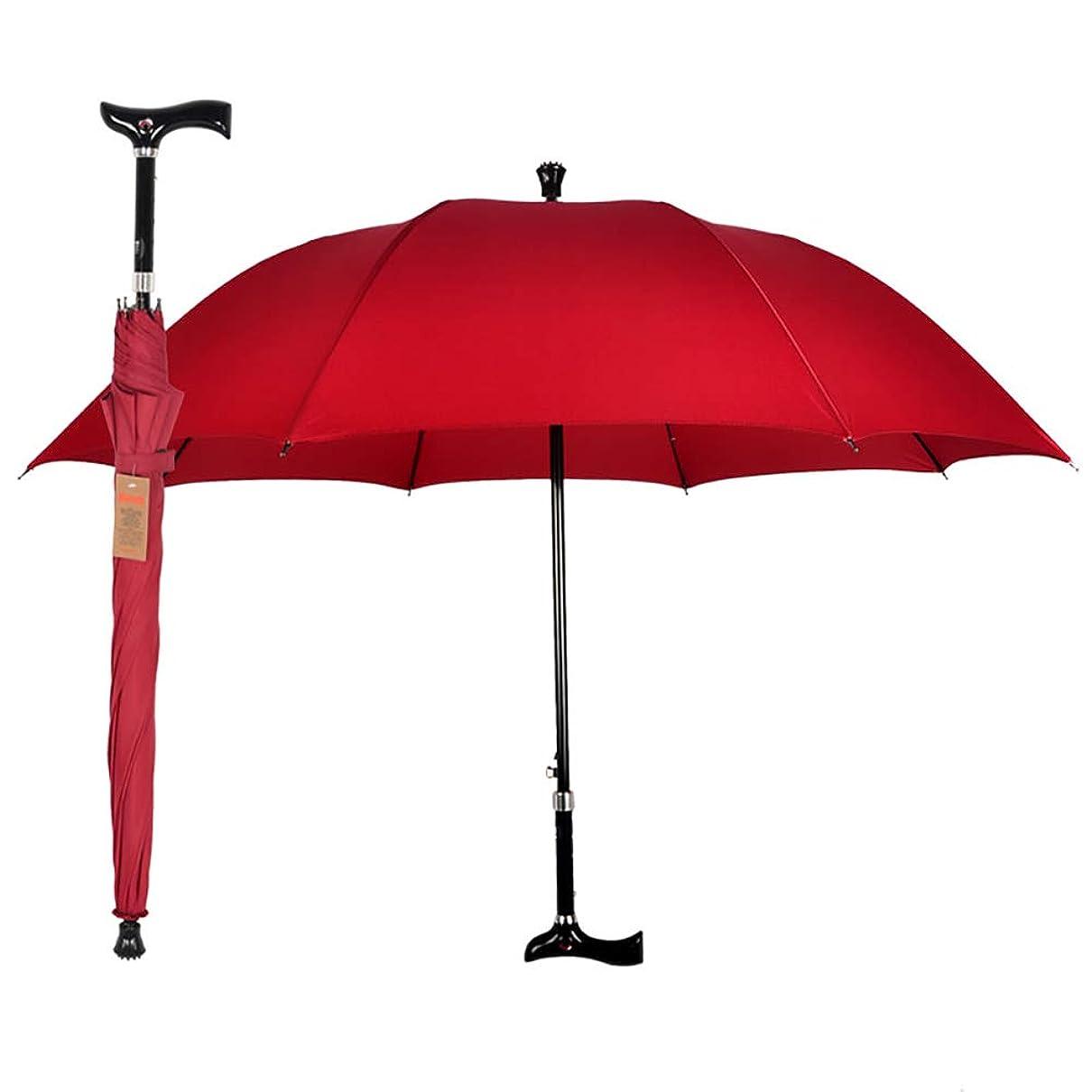 急速なマッシュレインコートSontu 松葉杖傘 ステッキ傘 歩行杖傘 二合一 2-in-1長傘 5段階高さ調整可能 アウトドア スキッド機能付き 登山傘 滑り防止 アンチスリップ 梅雨対策 超撥水 防風 安全警告灯付き 老人 高齢者に プレゼント 贈り物 ギフト 軽量1.12kg (ワインレッド)
