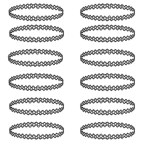 Collares Gargantillas Mujer, 12 Piezas Juego de Gargantilla Choker de Tatuaje Collar de Joyería Elástica Collar de Encaje Elástico para Mujeres Niñas