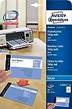 AVERY Zweckform C32015-10 Premium Visitenkarten, blanko (100 Stück, 260g, 85x54 mm, beidseitig bedruckbar, matt weiß, absolut glatte Kanten, 10 Blatt) zum Selbstbedrucken auf Inkjet-Druckern