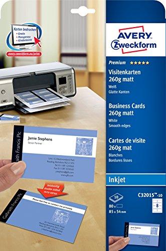 Avery Zweckform C32015-10 tarjeta de visita Inkjet Paper 80 pc(s) - Tarjetas de visita (Inkjet, Paper, Matte, 260 g/m², 85 mm, 54 mm)