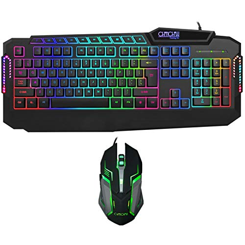 Wired Gaming Keyboard and Mouse Combo, CHONCHOW Rainbow LED Backlight Wrist Rest Gaming Keyboard with Multimedia Keys Adjustable 3200 DPI RGB USB Mouse Compatible Windows Mac