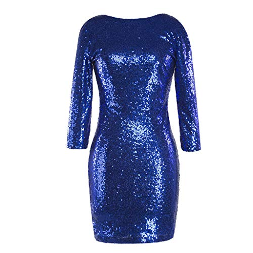 TUDUZ Kleider Festlich Langarm Damen V-Ausschnitt Sparkly Stretch Pailletten Bodycon Party Minikleid Freundin Kreativ Geschenk (T-Blau, S)