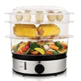 MeyKey MK5159 Healthy Food Steamer with Timer, 9.5 Quart 3-Tier Electric Steamer 800W Fast Heat-up for Meat, Vegetable, Egg and Rice, Stainless Steel