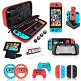 Your Best Gift: Switch Bundle Kit CONTAINS: 1x Carrying Case (Fit Nintendo switch Charger), 1x Compact Game Cartridge Case (for up to 8 games), 1x Protective Comfort Case, 1x Compact Playstand, 1x Tempered Glass Screen Protector, 4x Joystick Caps, 1x...