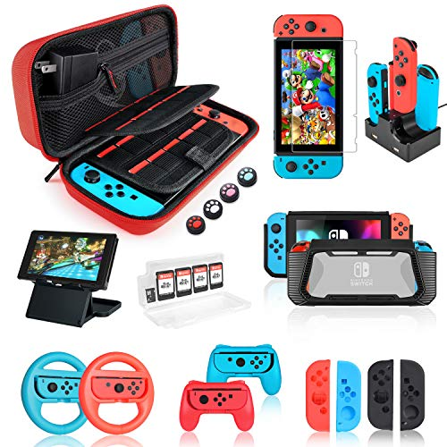 Switch Accessories Bundle, Kit with Carrying Case, Screen Protector, Compact Playstand, Game Case, Joystick Cap, Charging Dock,Steering Wheel for Nintendo Switch, Red (18 in 1)