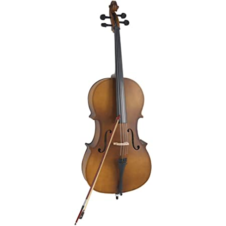 4//4 Acoustic Cello Rosin Wood Color Beautiful Varnish Finishing Bow Case Matte Golden