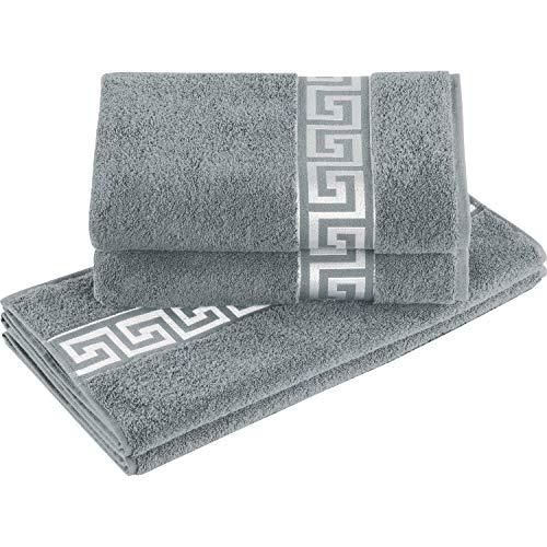 Delindo Lifestyle® Frottee Handtuch Serie Rhodos grau, 4-Teiliges Set, 2 x 50x100 cm Handtuch und 2 x 70x140 cm Duschtuch, Baumwolle