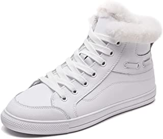 Winter Women's Flat Bottomed Sneakers Fashion Lace Up High Top Shoes Warm Casual Skateboard Shoes White (Color : White, Size : 37)