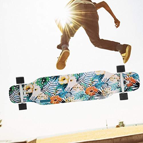 DAUERHAFT Carbon Steel Shaft Skateboard Sport Skateboard Sieben Schichten Maple Skateboard, für Sport, für Skateboard Liebhaber(Flower Sea)