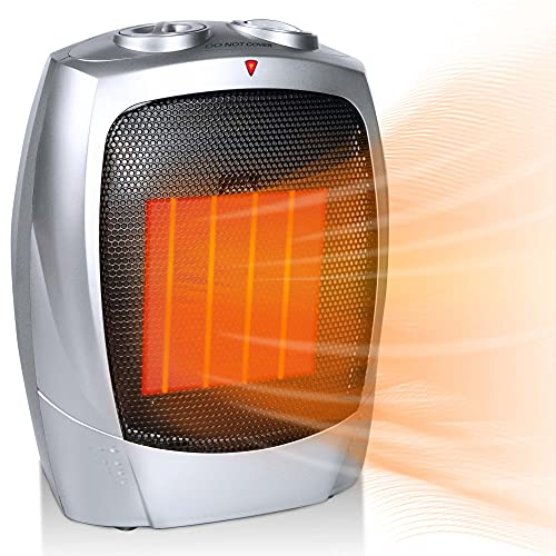 Portable Electric Small Space Heater, 1500W/750W Ceramic Heater with Thermostat, Overheat and Tip-over Protection, Heat Up 200 Square Feet in Minutes, Safe and Quiet for Office Room Desk Indoor Use (Silver)