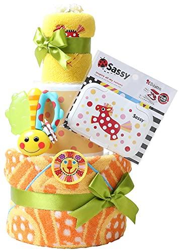 Sassy サッシー 出産祝い 3段 おむつケーキ 名入れ刺繍 歯固め ビタット Bitatto (パンパーステープタイプSサイズ, オレンジ)