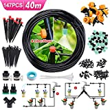 CAVEEN Drip Irrigation Kit, 131FT/40m Garden Irrigation System with Adjustable Nozzle Automatic Watering Kits...