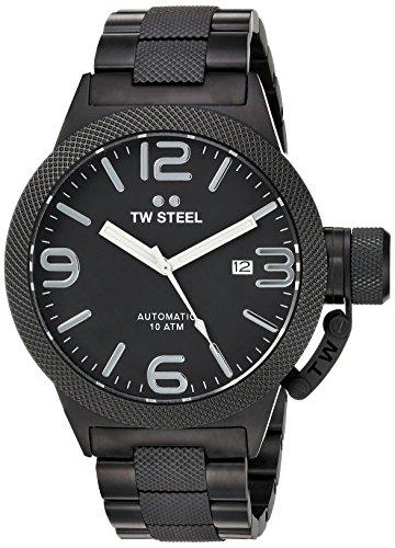 Reloj de cuarzo TW Steel para caballero, con cronógrafo, esfera analógica plateada y correa de acero inoxidable de color negra