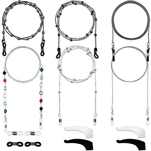 6 Piezas Cadena de Gafas Retenedor de Gafas Elegante Cordón Gafas con Abalorios (Negro, Plateado)