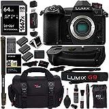 Panasonic Lumix G9 Mirrorless Camera Body 20.3 MP G9KBODY, Panasonic G9 Vertical Battery Grip, Polaroid 64GB High Speed SD Card U3, Polaroid 72' Monopod, Spare Battery and Accessory Bundle