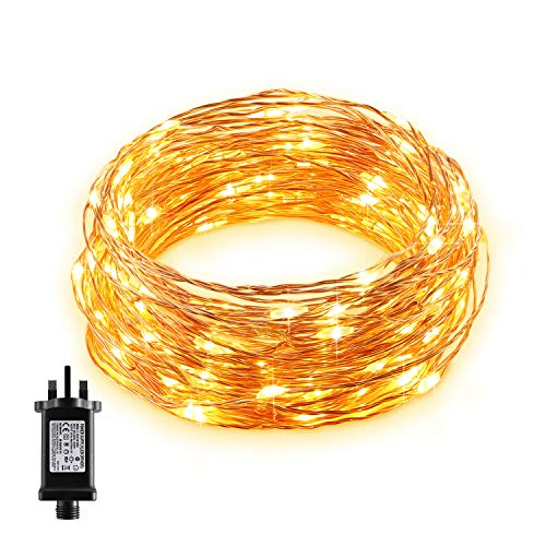 Gladle LED Fairy String Lights 10m with 100 LEDs, Waterproof Copper Wire Decorative Lights for Bedroom, Patio, Parties, Christmas Tree, Bottles, Indoor & Outdoor, Warm White Firefly Light, UK Plug