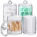 AOZITA 10 OZ Qtip Holder Dispenser for Cotton Ball, Cotton Swab, Cotton Round Pads, Floss - 4 Pcs Clear Plastic Apothecary Jar for Bathroom Canister Storage Organization, Vanity Makeup Organizer