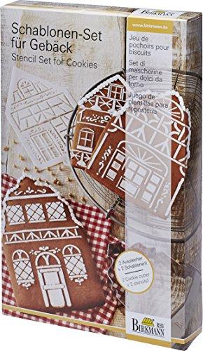 RBV Birkmann Set di Stencil per Biscotti Winter Village 6Pezzi, Colore: Argento/Bianco