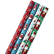 Image Arts Christmas Wrapping Paper with Cut Lines on Reverse, Festive Fun (Pack of 4, 120 sq. ft. ttl)