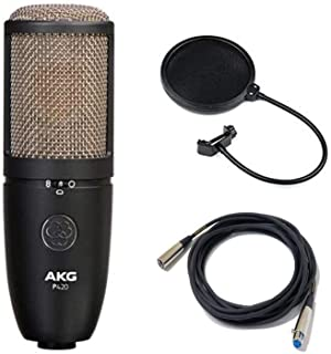 AKG Project Studio P420 Multi-Pattern Large Diaphragm Condenser Microphone with Pop Filter & Senor 20' XLR Cable