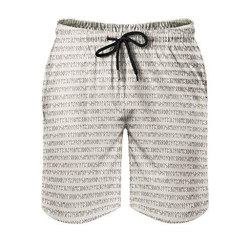 Kikomia - Short de bain - Pour homme - Style Viking - Guerre de Valknut Nordique - Impression mythologie - Avec poches XL Blanc