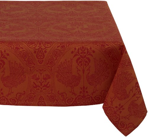 Mahogany Peacock 60-Inch by 120-Inch Orange/Red Tablecloth, Cotton Jacquard