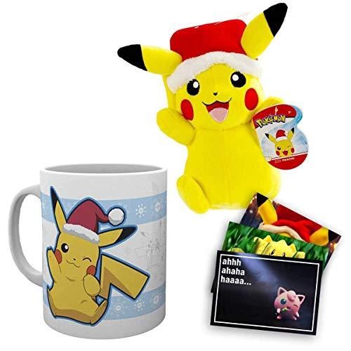 Lively Moments Pokemon Tasse mit Weihnachtsmann Pikachu Motiv und Pokemon Plüschtier Pikachu mit Weihnachtsmütze ca. 20cm und Exklusive GRATIS Grußkarte