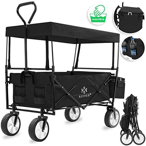Kesser® Bollerwagen faltbar mit Dach Handwagen Transportkarre Gerätewagen | inkl. 2 Netztaschen und Einer Außentasche | klappbar | Vollgummi-Reifen | bis 100 kg Tragkraft | (Schwarz)