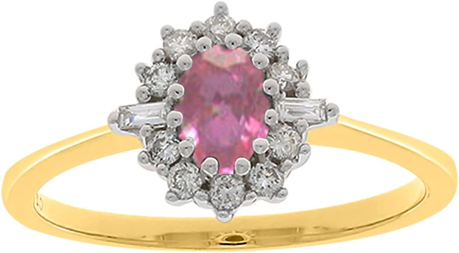 Pink Tourmaline Diamond Fashion Ring in 14K Yellow gold ( 1 4 cttw)(colorGH I1 Clarity) (Size8)