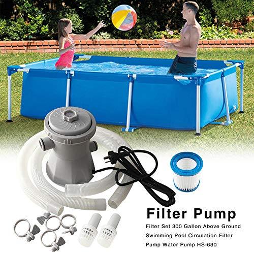 Ridecle 300 Gallonen-Swimmingpool-Filter-Pumpen-Ausrüstung über Grundpools Reinigungswerkzeug-Zirkulations-Wasserpumpe mit Patronen-Filter, Schlauch, Filterpumpe, 110V-240V