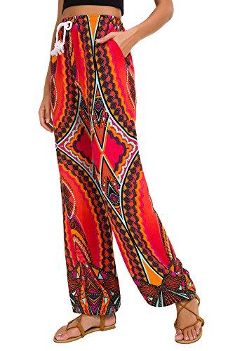 Urban GoCo Femmes Boho Harem Pantalon Dames Floral Imprimer Élastiquée Taille Pantalon (Small, 14)