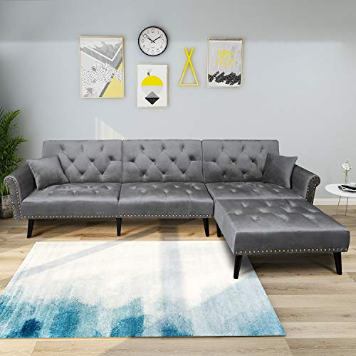 Mid Century Upholstered Sectional Sofa Futon Couch with Reversible Chaise with Adjustable Back Sofa Bed (Gray)