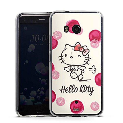 DeinDesign Silikon Hülle kompatibel mit HTC U11 Hülle transparent Handyhülle Hello Kitty Punkte Hanami