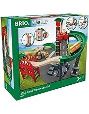 BRIO World 33887 Stort lagerhus set med hiss - Tillbehör för BRIO träbana - Byggleksak rekommenderas för barn från 3 år