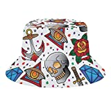 Vacaciones Viaje Doodle Elementos Cubo Sombrero Verano Viaje Poliéster Packable Beach Sun Hat Gorra al aire libre