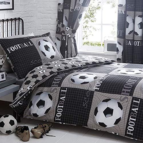 Shoot Football Single Duvet Cover and Pillowcase Bed Set, Polyester-Cotton, Grey