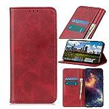 NEINEI Funda para OnePlus 9 Pro,Carcasa PU Cuero Libro con [Soporte Plegable] [Ranura para Tarjeta] [Magnético],Textura de Piel de Vaca Diseño Flip Phone Cover Case,Rojo