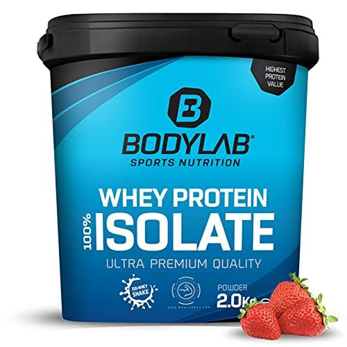 Whey Protein Isolate 2kg Erdbeer Bodylab24, Eiweißpulver aus Whey Isolat, Whey Protein-Pulver kann den Muskelaufbau unterstützen, konzentriertes Iso-Whey-Protein frei von Aspartam