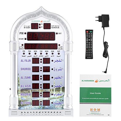 Cikonielf Islamische automatische Wecker Wanduhr Turmförmige Gebetsuhr Azan Uhr Gebetszeit Erinnerung mit Zeit, Datum, Temperatur, USB Ladekabel für Zuhause, Masjid, Ramadan