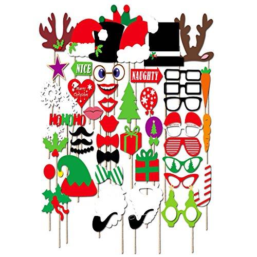 UOOOM 50 Pcs Créatifs Accessoires Décoratifs Photobooth Mascarade Noël Mariage Home Friends Party (Style A)