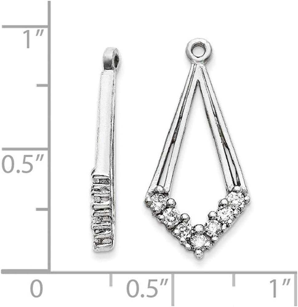 Solid 14k White Gold VS Diamond earring jacket - 22mm x 11mm (.28 cttw.)