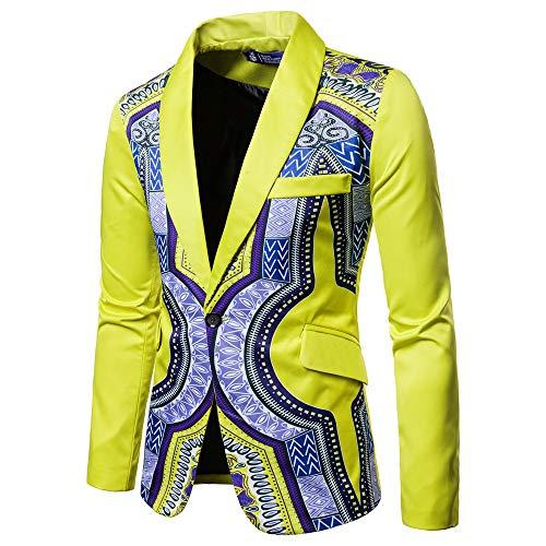 YunYoud Giacca Stampata a Maniche Lunghe da Uomo di Moda Africana, Abito a Maniche lungheUomo Slim Fit Uomo Casual One Button Elegante Vestito di Affari Cappotto Giacca Blazers (M, Giallo)